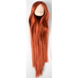 Голова аниме, белый тон, цвет волос красное дерево