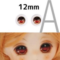 """Аниме глазки тип """"А"""", оранжевые, 12мм"""