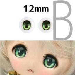 Аниме глазки 12 мм, зеленые.