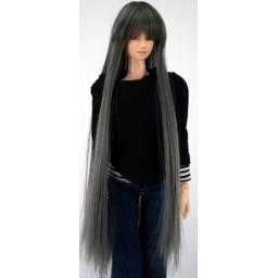 Парик с челкой, длинный, цвет темно-серый, 4 inch