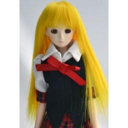 Парик с челкой, средней длины, ярко-желтый, 3,5 inch