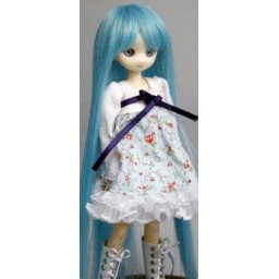 Парик с челкой длинный, голубой, 4,5 inch