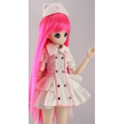 Парик с челкой, средней длины, ярко розовый 5 inch