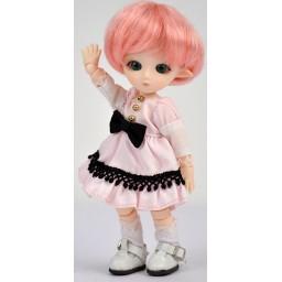 """платье для Обитсу 11 см, розовое с черной отделкой """"Лолита"""""""