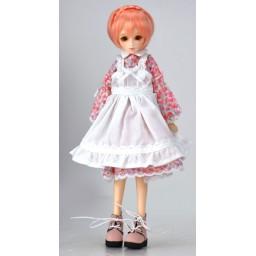 Платье с фартуком для Обитсу 21-23 см, розовое.