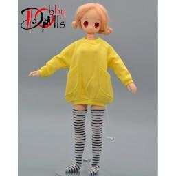 Толстовка для кукол формата 1 к 6ти желтая.
