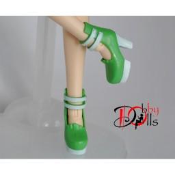 Туфли виниловые на платформе, зеленые